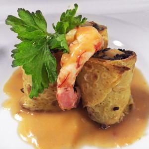 croccante-riso-venere-gambero-salsa-volgole-ristorante-belvedere-subiaco